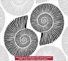 Ammonites stencil from The Stencil Library VINTAGE range. Stencils Online, Ammonite, Pen Art, Zentangle Patterns, Line Drawing, Doodle Art, Painted Rocks, Printmaking, Illustration