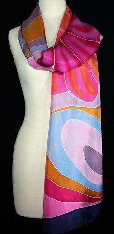 Silk Scarf. Hand Painted Silk Shawl.Pink Lavender Orange Hand