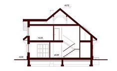 DN Karen is a house with an attic, basement with garage single user in a block building. The project is. Beautiful Small Homes, Bungalow House Plans, Magnolia, Building A House, Villa, Floor Plans, Cottage, House Design, How To Plan