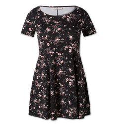 Kleid in schwarz mit Blumen-Print, Clockhouse, 19 Euro,  Artikelnummer: 187166.1, Material: 95 % Baumwolle 5 % Elasthan