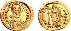 Marcian, a military general and husband of Pulcheria (Theodosius II's sister), was Eastern Roman Emperor from 450 to 457. His rule saw a recovery of the Eastern Empire, but a final break between the two parts of the empire. Without support from the East, the Western Roman Empire fell to barbarian attacks. As his marriage to Pulcheria was never consummated due to her vow of chastity, her death in 453 was the end of the Theodosian Dynasty.    Photo courtesy of Classical Numismatic Group, Inc.
