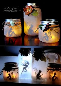 These Gorgeous Fairy Jar Lanterns Are Magical Fairy Lights In A Jar, Jar Lights, Diy Fairy Jars, String Lights, Mason Jars, Mason Jar Crafts, Mason Jar Lanterns, Fairy Lanterns, Diy Hanging Shelves