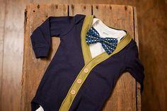 Preppy Baby Boy Cardigan Onesie and Bow Tie by RockingHorseLane, $30.00