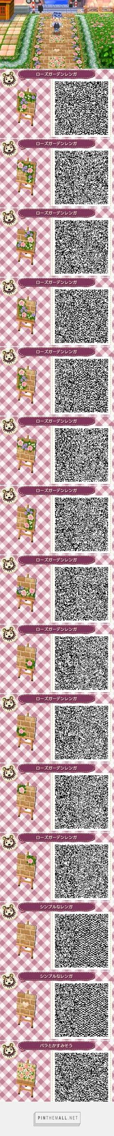 ACNL/ACHHD QR CODE-Brick path with pink and violet roses border and accents
