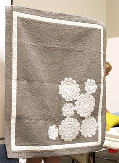 Gorgeous Modern Gray Quilt Embellished with Doilies - super simple and chic!