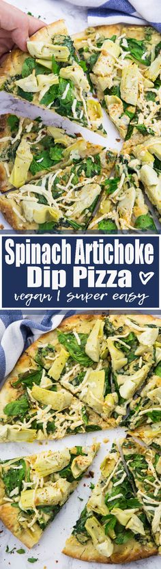 If you like spinach artichoke dip, you will LOVE this spinach artichoke pizza. It's basically spinach artichoke dip on a pizza. The perfect comfort food!! Big YUM!! Find more vegan recipes at veganheaven.org <3