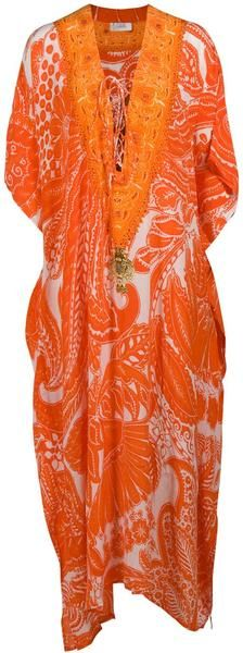 Camilla Long Laceup Kaftan in Orange - Outfit 57