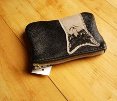 Mean Cat Coin Purse in Black and Grey Recycled by bonspielcreation, $18.00