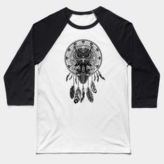 OwL Dream Catcher Black and White Baseball T-Shirt #Baseball #TShirt #tee #clothing #teepublic #dreamcatcher #thedayofthedead #halloween #mexico #sugarskull #mexicoskull #dayofdead #mexicanart #muertos #diadelosmuertos #indian #native #american #owl #pattern #skull #owls #chief #indianchief #birds