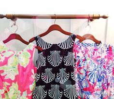 Some of our Lilly Pulitzer shift dresses! The Black Shell one!!!