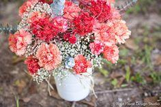 Carnations, Eucalyptus, & Spider Lilies   www.rootfloraldesign.com