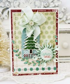 holiday sweets...I snagged me some of Echo Parks Reflections Christmas collection, love it so much, that I used it on all three of my cards today.  The chipboard elements on my last two cards are also from this same collection.  I also used Papertrey Ink's Rustic Wreath stamp and die on this card, a Sizzix Mini Snowflake Rosette, and a Bundled Up badge from Crate Paper.