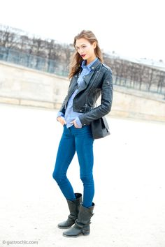 Black leather, denim and a red lip are all you really need for an effortless fall outfit, as demonstrated in this street style snap of Karlie Kloss.
