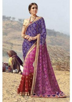 rouge et rose et bleu couleur georgette, viscose saree, - 94,00 €, #Robebollywood #Sarifemme #Saridemariage #Shopkund