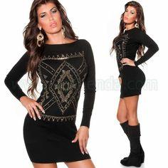#Sexy #vestido @mujer de #punto #suave #diseño de #mangalarga con #estampado de #oro #brillante o #pedreria que #marca un #estilo #exclusivo y #chic que #destaca #nuestra #figura. #Brilla con este #Jersey #largo y #ceñido para #complementar un #look de @fiesta #coctel #noche @eventos o para el #dia a dia. Encuentralo en #vestidos de #punto http://www.agiltienda.com/es/home/2280-jersey-largo-de-punto-con-brillantes-8400228097899.html #online #shop @agiltienda.es