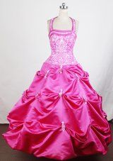 Buy embroidery beaded halter hot pink little girls pageant dresses from little girl pageant dresses collection, halter top ball gowns in hot pink color,cheap floor length taffeta dress with lace up back and for pageant birthday party . Beauty Pageant Dresses, Little Girl Pageant Dresses, Flower Girl Dresses, Pink Dresses For Kids, Girls Formal Dresses, Pagent Dresses For Kids, Pretty Dresses, Beautiful Dresses, Bridesmaid Dresses