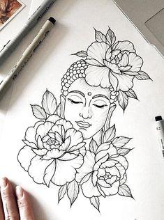 Zeichnungen yup throw color in it a lotus flower buddha my back piece q Buddha Tattoo Design, Buddha Tattoos, Buddha Lotus Tattoo, Buddha Drawing, Doodle Art Drawing, Pencil Art Drawings, Cool Art Drawings, Buddha Art, Buddha Painting