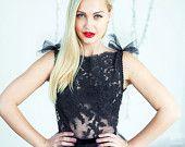 SALE Black lace evening dress Open back dress by CarouselFashion