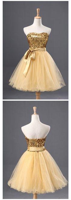 Sequin Homecoming Dress,Sleeveless Homecoming Dress,Tulle Homecoming Dress, Gold Homecoming Dress,Graduation Dress , Homecoming Dress ,Prom Dress for Teens