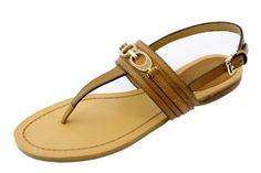 COACH Sammy Ginger Beige/Semi Matte Calf Leather Thong Ankle Strap Sandal