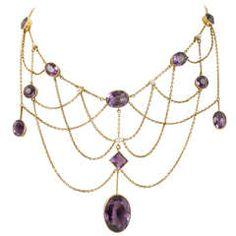 Edwardian Amethyst Gold Bib Necklace