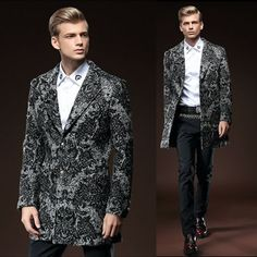 Black Gray Wool Sequined Floral Fitted Dress Jackets Coats for Men SKU-123609