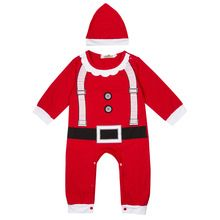 2016 Newest Baby Cotton Christmas Cloths Outfits Long Sleeve Boy Girl Kids Romper Hat Cap Set Baby Autumn Spring Clothes(China (Mainland))