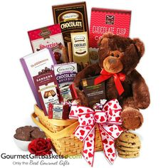 Teddy-Bear-and-Chocolates-Valentines-Day-Gift-Basket, gifts for women, gift baskets