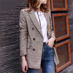 2018 New Plaid Formal Suits for Women Fashion Newest Designer Blazer Women& Long Sleeve Jacket Look Blazer, Casual Blazer, Plaid Blazer, Blazer Outfits, Blazer Fashion, Suit Fashion, Womens Fashion, Work Outfits, Fashion Fall