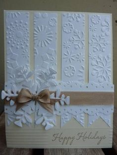 Snowflakes in WW & VV by xx ginger xx - Cards and Paper Crafts at Splitcoaststampers Embossed snowflake card LOVE this color scheme and the soft elegance of this card Homemade Christmas Cards, Homemade Cards, Christmas Tag, White Christmas, Christmas Trees, Christmas Cards To Make, Christmas Snowflakes, Handmade Greetings, Greeting Cards Handmade