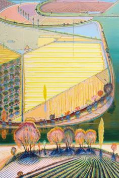 Wayne Thiebaud (American, b. 1920), Green River Lands, 1998. Oil on canvas, 72 x 48 in. Collection of Matthew Bult