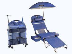 Maleta LoungePac vira cadeira de praia, cooler e guarda-sol