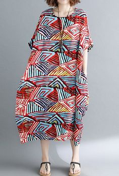 Women loose fit dress pocket tunic maxi Bohemian robe Boho large size geometric #Unbranded #dress #Casual