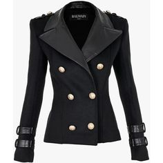 Balmain Wool and cashmere blend double-breasted jacket (4 565 720 LBP) ❤ liked on Polyvore featuring outerwear, jackets, double breasted wool jacket, black jacket, black biker jacket, wool jacket y biker jacket