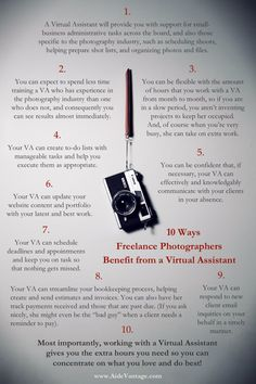 10 Ways Photographers Can Benefit From a Virtual Assistant.