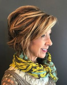 50 Modern Haircuts for Women over 50 with Extra Zing - - Choppy Messy Short-To-Medium Cut Over 50 Trendy Haircuts For Women, Stylish Haircuts, Haircut For Older Women, Modern Haircuts, Short Hair Cuts For Women, Short Hairstyles For Women, Modern Hairstyles, Short Choppy Hair, Short Hairstyles For Thick Hair