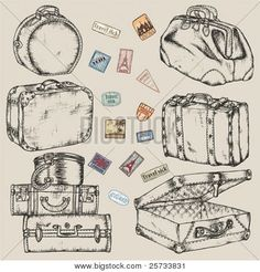 Wouldn't mind this as vector! Picture or Photo of Set of old vintage suitcases and road labels
