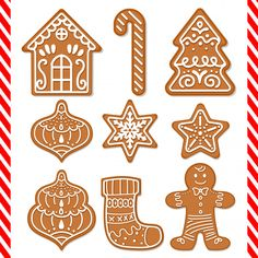 Find Set Cute Gingerbread Cookies stock images in HD and millions of other royalty-free stock photos, illustrations and vectors in the Shutterstock collection. Christmas Activities, Christmas Crafts For Kids, Christmas Printables, Holiday Crafts, Christmas Decorations, Gingerbread Decorations, Christmas Makes, Christmas Mood, Felt Christmas