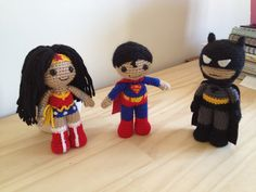 Superman, Wonder Woman, Batman Amigurumi by Clare Heesh on Ravelry.  The patterns for these little cuties can be found here at Clare's Etsy store.