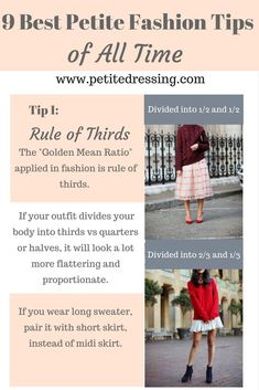 Petite fashion and petite styling tips to make your proportion look better and l. - Petite fashion and petite styling tips to make your proportion look better and l. Petite fashion and petite styling tips to make your proportion loo. Petite Fashion Tips, Petite Outfits, Petite Dresses, Fashion Advice, Fashion Ideas, Fashion Outfits, Ladies Fashion, Short Girl Fashion, Fashion Tips For Girls