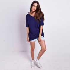 Michael Stars elbow sleeve scoop neck hi-low tee.