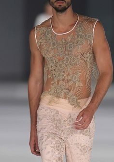 Albeniz SS 14. Love the embroidery and transparent fabrics in a masculine tank.