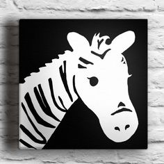 Custom Zebra Silhouette Painting on Canvas by waddlingduck on Etsy