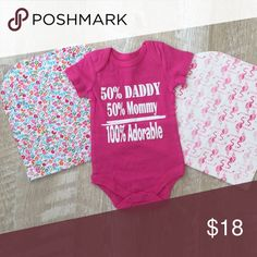 Baby Bundle💗 2 burp cloths + onesie. 100% cotton. NEW Matching Sets