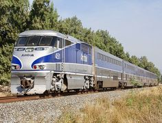 Amtrak Railroad, EMD F59PHI diesel-electric locomotive in Camarillo, California, USA