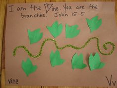 V .... vine  Use green pipe cleaner and glue on leaves to make into vine for letter V.  Disregard background paper.
