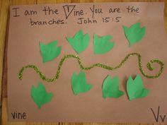 V .... vine  Use green pipe cleaner and glue on leaves to make into vine for letter V.  Disregard background paper.