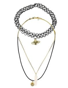 Charm & Tattoo Choker Necklaces - 3 Pack: Charlotte Russe #accessories
