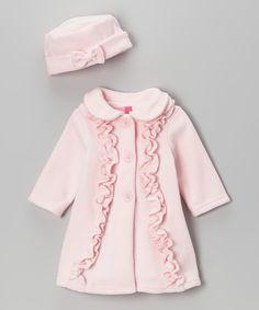 Pink Ruffle Fleece Coat & Hat - Infant & Toddler