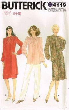 917e9995294d0 4119 Sewing Pattern Vintage Butterick Ladies Dress Tunic Top Pants 6 8 10